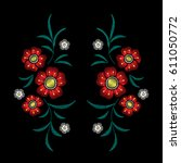 embroidery floral pattern with... | Shutterstock .eps vector #611050772