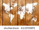 antique wood wall with world... | Shutterstock . vector #611053892