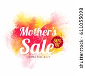 mother's day sale with 50  off... | Shutterstock .eps vector #611055098