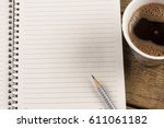 black coffee with note paper... | Shutterstock . vector #611061182