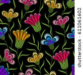 embroidery floral seamless...   Shutterstock .eps vector #611061602