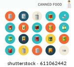 canned food concept flat icons.  | Shutterstock .eps vector #611062442