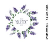 watercolor lilac. wreath of... | Shutterstock . vector #611064086