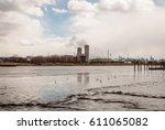 power plant energy silos....   Shutterstock . vector #611065082