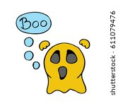 cute scary ghost emoticon say... | Shutterstock .eps vector #611079476