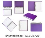Purple Notebook collection on white background - stock photo