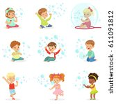 children playing with colorful... | Shutterstock .eps vector #611091812