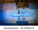 water jet machine at work...   Shutterstock . vector #611096675