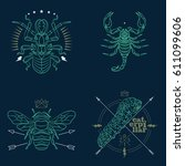 set of thin line insects icons. ... | Shutterstock .eps vector #611099606