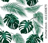 tropical palm leaves. jungle... | Shutterstock . vector #611100875