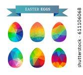 easter eggs isolated on white... | Shutterstock .eps vector #611106068
