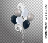 bunch of  silver  black  white... | Shutterstock .eps vector #611118722