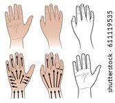 woman  man hands with massaging ... | Shutterstock .eps vector #611119535