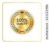 seal award gold icon. blank... | Shutterstock .eps vector #611121986