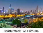 bangkok city at twilight | Shutterstock . vector #611124806