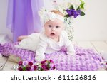 little baby girl in a beautiful ... | Shutterstock . vector #611126816