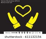hands  heart  icon  vector... | Shutterstock .eps vector #611132156