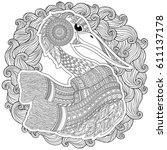zentangle hand drawn stork for... | Shutterstock .eps vector #611137178