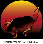 wild horse is bucking with the... | Shutterstock .eps vector #611138162