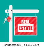 wooden placard real estate sign.... | Shutterstock .eps vector #611139275