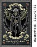 winged skull with sword | Shutterstock .eps vector #611141486