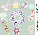 set of cute stickers with... | Shutterstock .eps vector #611148155