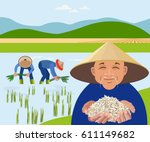 farmers harvest rice in paddy... | Shutterstock .eps vector #611149682