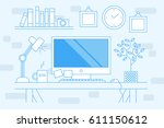thin line flat design banner of ... | Shutterstock .eps vector #611150612