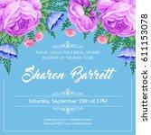 bridal shower invitation... | Shutterstock .eps vector #611153078