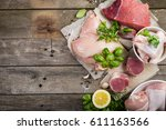 selection of different meat cuts | Shutterstock . vector #611163566