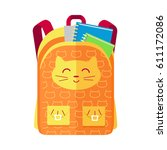 backpack schoolbag icon with a... | Shutterstock . vector #611172086