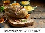 cooked sliced open haggis and... | Shutterstock . vector #611174096