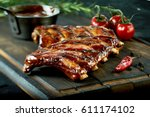 spicy hot grilled spare ribs... | Shutterstock . vector #611174102