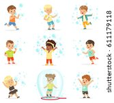 cute little girls and boys...   Shutterstock .eps vector #611179118