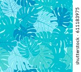 tropical leaves of palm tree.... | Shutterstock .eps vector #611183975