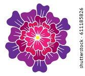 one big pink vector flower... | Shutterstock .eps vector #611185826