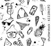 summer seamless pattern. ink... | Shutterstock .eps vector #611186192
