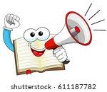 happy mascot open book speaking ...   Shutterstock .eps vector #611187782