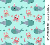 seamless pattern with whales ... | Shutterstock .eps vector #611192072