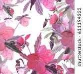 bouquet from pansies seamless... | Shutterstock . vector #611194322