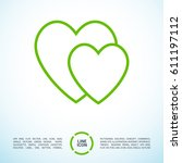 two heart  line vector icon | Shutterstock .eps vector #611197112