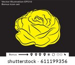 roses  flowers  icon  vector... | Shutterstock .eps vector #611199356