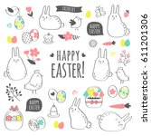 vector easter set with cute... | Shutterstock .eps vector #611201306