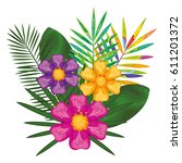 tropical flowers decorative card | Shutterstock .eps vector #611201372