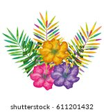 tropical flowers decorative card | Shutterstock .eps vector #611201432