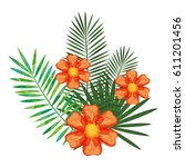 tropical flowers decorative card | Shutterstock .eps vector #611201456