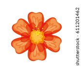 tropical flowers decorative card | Shutterstock .eps vector #611201462