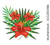 tropical flowers decorative card | Shutterstock .eps vector #611201486