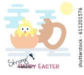 vector flat happy easter card... | Shutterstock .eps vector #611201576