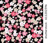cute floral pattern in the... | Shutterstock .eps vector #611202596
